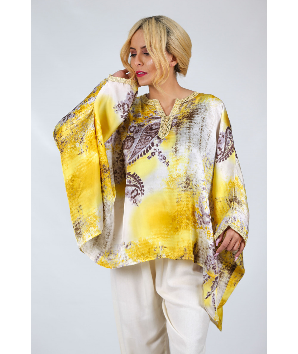 raditional shirt printed with golden color sfifa