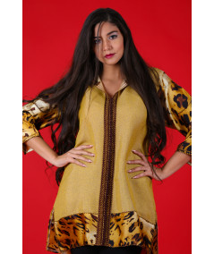 Yellow shirt with printed sleeves with brown and yellow sfifa