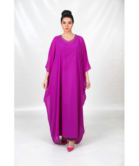 Gandoura purple 2 pieces with sfifa
