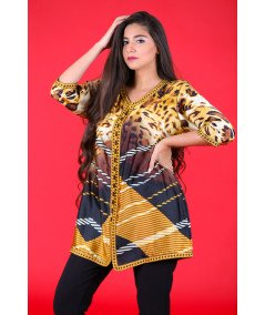 Printed tunic with brown sfifa and aakad buttons