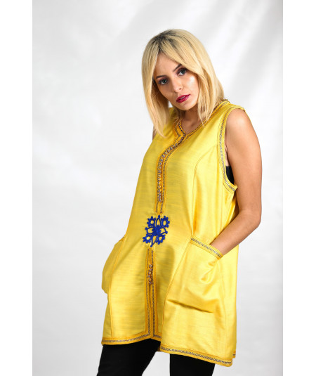 Yellow tunic with tarz in blue