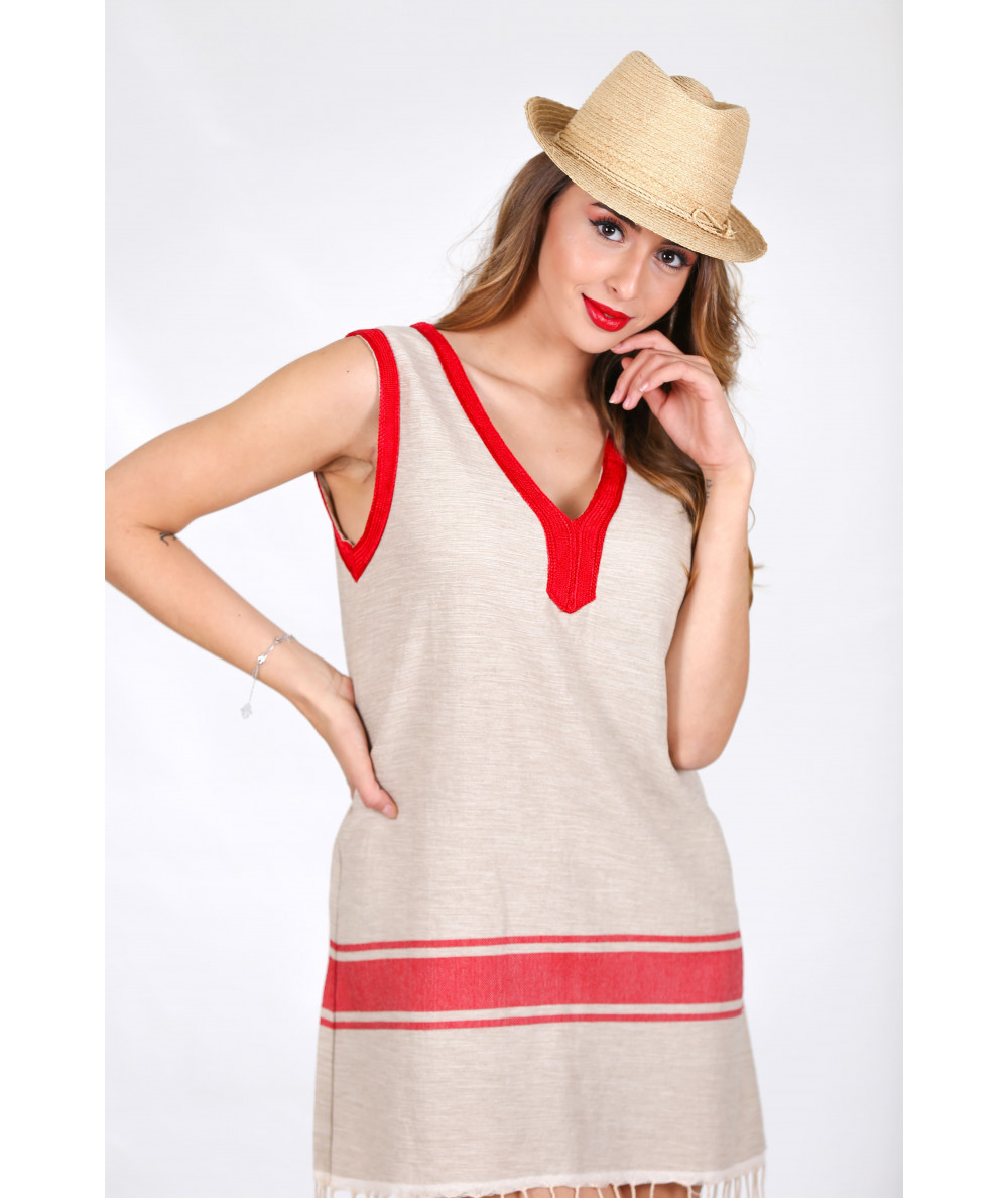 Beige tunic with red sfifa