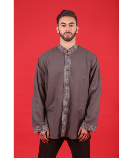 Chemise traditionnelle marron