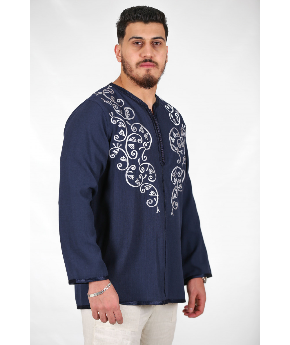 Blue tunic with tarz in silver