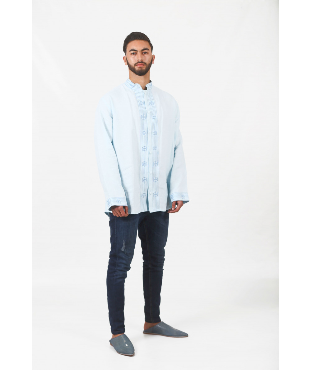 Tunic in striped sky blue