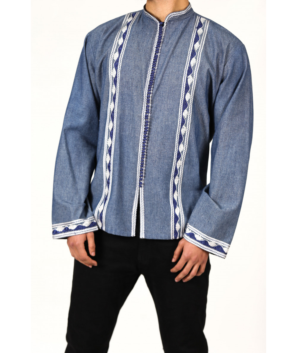 Blue and white embroidered tunic with Aakad