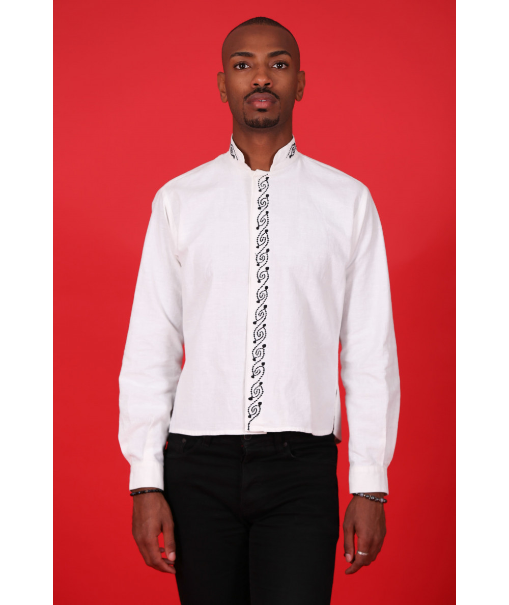 White shirt embroidered in black