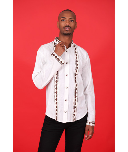 Men's white embroidered shirt