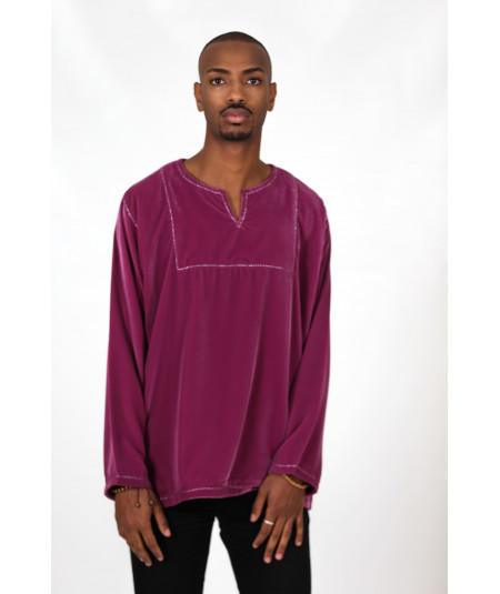 Tunic in purple velvet