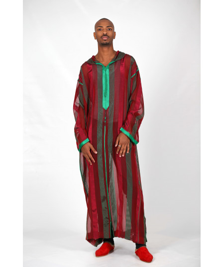 Djellaba long red and green stripes
