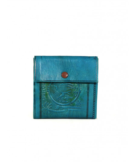 Blue engraved leather wallet