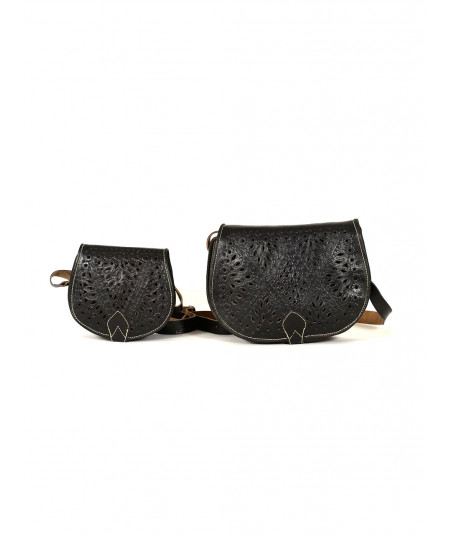 Set of two leather handbags
