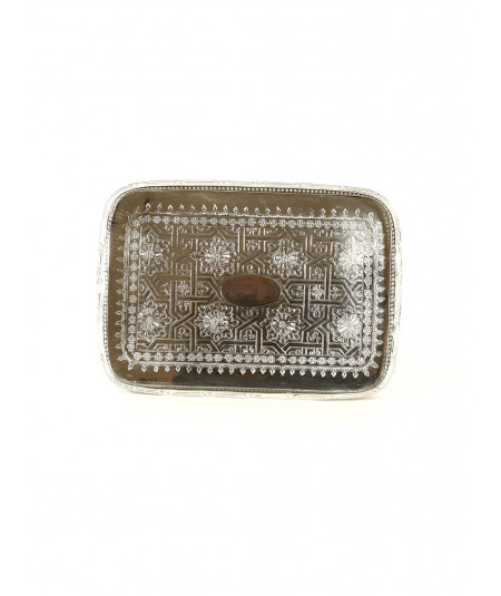 Rectangular tray in silver metal