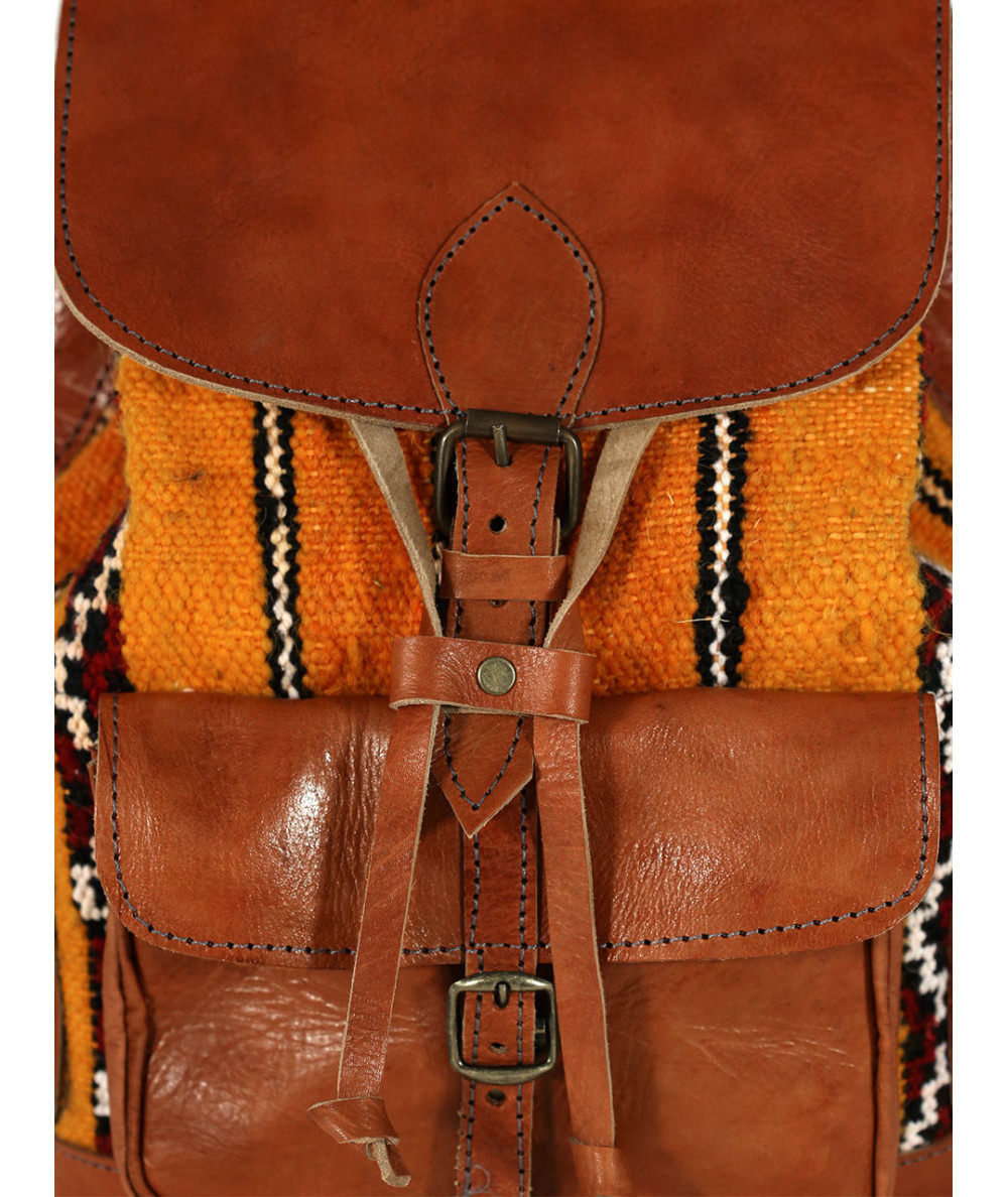 Kilim and leather backpack