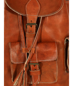 Leather backpack with 3 pockets